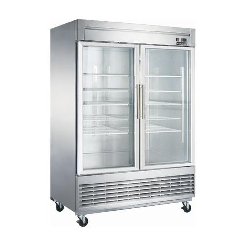 """Dukers D55R-GS2 55 1/8"""" Swing Glass Door Reach-In Refrigerator, 2 Doors"""