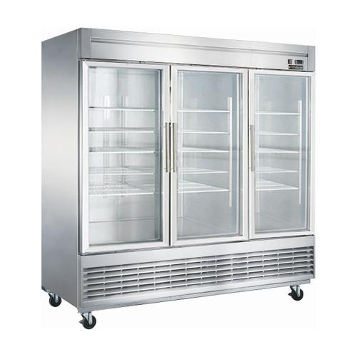 """Dukers D83R-GS3 82 5/8"""" Swing Glass Door Reach-In Refrigerator, 3 Doors"""