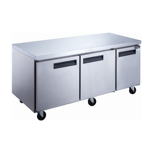 """Dukers DUC72R 72 1/4"""" Stainless Steel Undercounter Refrigerator, 3 Solid Doors"""