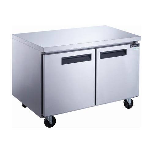 "Dukers DUC48F 48 1/8"" Stainless Steel Undercounter Freezer, 2 Solid Doors"