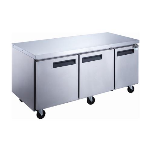 "Dukers DUC72F 72 1/4"" Stainless Steel Undercounter Freezer, 3 Solid Doors"