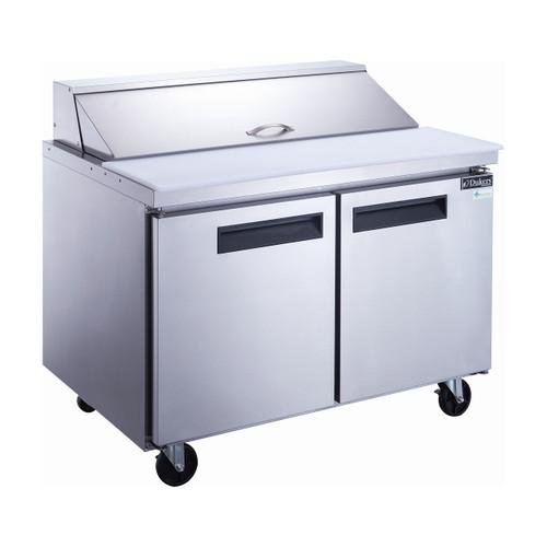 """Dukers DSP48-12-S2 48 1/8"""" Sandwich Prep Table - 2 Doors, 12 Pans"""