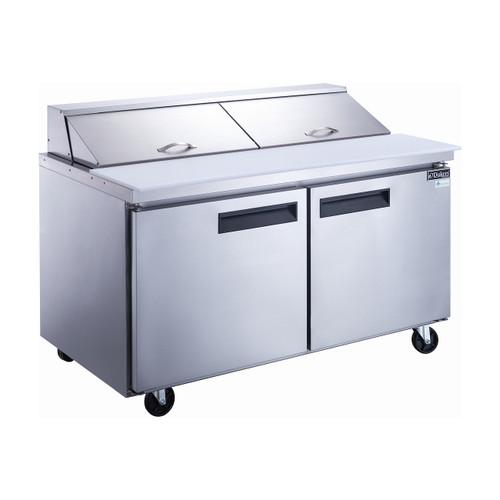 """Dukers DSP60-16-S2 60"""" Sandwich Prep Table - 2 Doors, 16 Pans"""