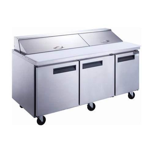 """Dukers DSP72-20-S3 72 1/4"""" Sandwich Prep Table - 3 Doors, 20 Pans"""