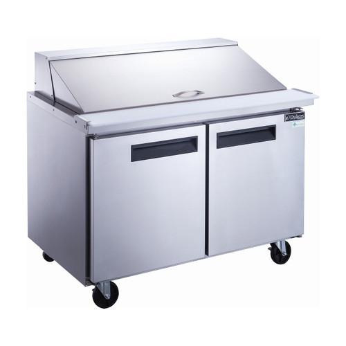 """Dukers DSP48-18M-S2 48 1/8"""" Mega Top Sandwich Prep Table - 2 Doors, 18 Pans"""