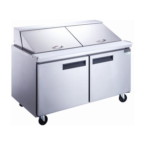 """Dukers DSP60-24M-S2 60"""" Mega Top Sandwich Prep Table - 2 Doors, 24 Pans"""