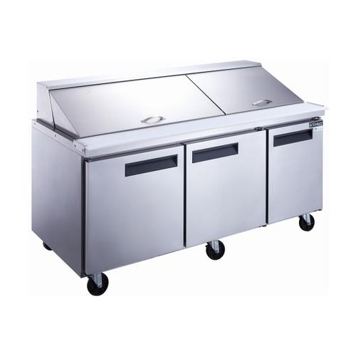 """Dukers DSP72-30M-S3 72 1/4"""" Mega Top Sandwich Prep Table - 3 Doors, 30 Pans"""