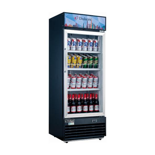 "Dukers DSM-12R 24 3/4"" Single Swing Glass Door Merchandiser Refrigerator - Black Exterior"
