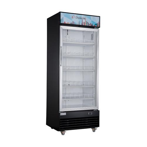 "Dukers DSM-15R 27 1/2"" Single Swing Glass Door Merchandiser Refrigerator - Black Exterior"