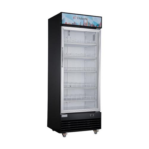 "Dukers DSM-19R 29 1/2"" Single Swing Glass Door Merchandiser Refrigerator - Stainless Steel"