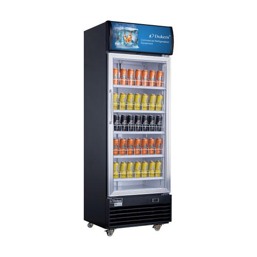 "Dukers LG-430 24 3/8"" Single Swing Glass Door Merchandiser Refrigerator - Black Exterior"