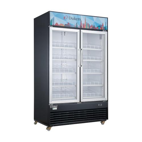 """Dukers DSM-48R 54 1/8"""" Two Swing Glass Doors Merchandiser Refrigerator - Stainless Steel"""