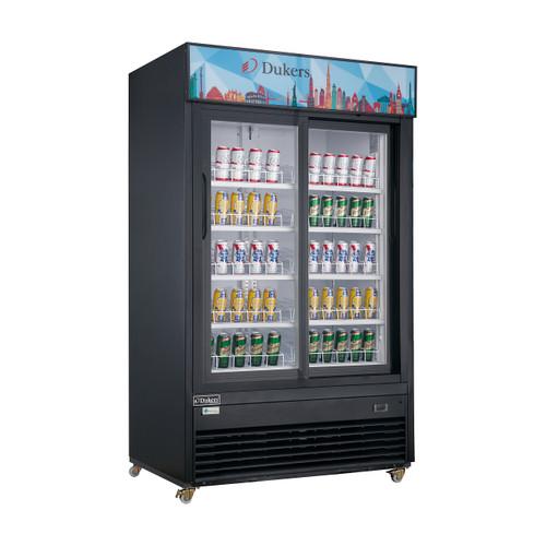 """Dukers DSM-40SR 47 1/4"""" Two Swing Glass Doors Merchandiser Refrigerator - Black Exterior"""
