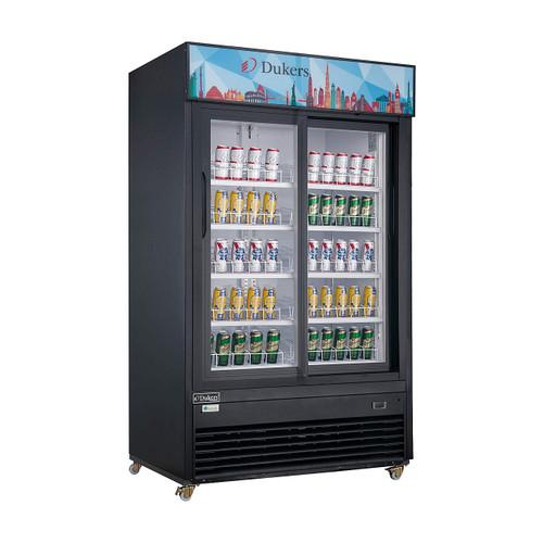"""Dukers DSM-47SR 54 1/8"""" Two Swing Glass Doors Merchandiser Refrigerator - Black Exterior"""