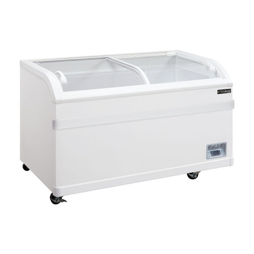 "Dukers WD-500Y 56 1/8"" Curved Sliding Glass Chest Freezer - 17.66 Cu. Ft."