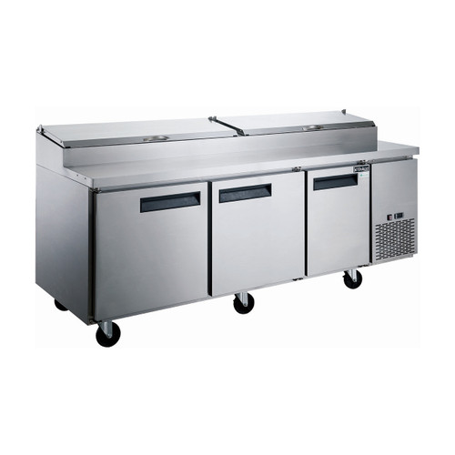"Dukers DPP90-12-S3 90 1/4"" Pizza Prep Table - 3 Doors, 12 Pans"