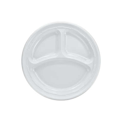 "Dart 9CPWF 9"" Famous Service White 3-Compartment Impact Plastic Plate - 500/Case"