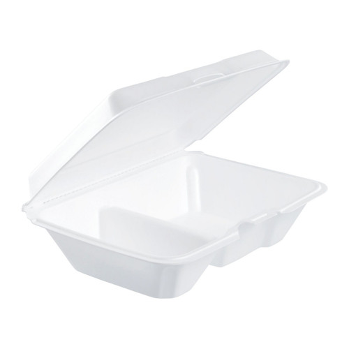 "Dart 205HT2 9"" x 6"" x 3"" White Foam 2 Compartment Take Out Container with Perforated Hinged Lid - 200/Case"