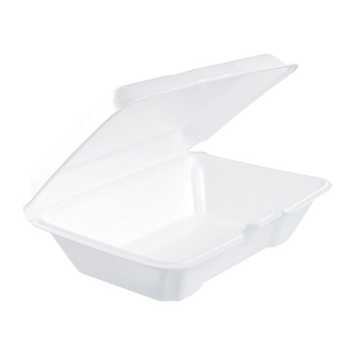 "Dart 205HT1 9"" x 6"" x 3"" White Foam Take Out Container with Perforated Hinged Lid - 200/Case"