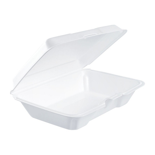 "Dart 206HT1R 9"" x 6"" x 3"" White Foam Shallow Rectangular Take Out Container with Perforated Hinged Lid - 200/Case"