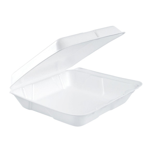 "Dart 80HT1R 8"" x 7 1/2"" x 2"" White Foam Square Take Out Container with Hinged Lid - 200/Case"