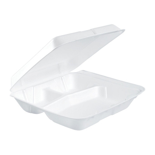 "Dart 80HT3R 8"" x 7 1/2"" x 2"" White Foam Three-Compartment Square Take Out Container with Hinged Lid - 200/Case"