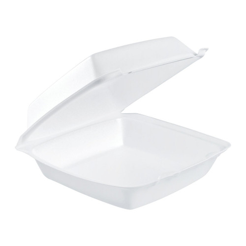"Dart 85HT1R 8"" x 8"" x 3"" White Foam Square Take Out Container with Perforated Hinged Lid - 200/Case"