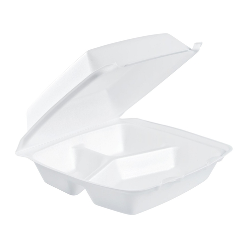 "Dart 85HT3R 8"" x 8"" x 3"" White Foam Three-Compartment Square Take Out Container with Perforated Hinged Lid - 200/Case"