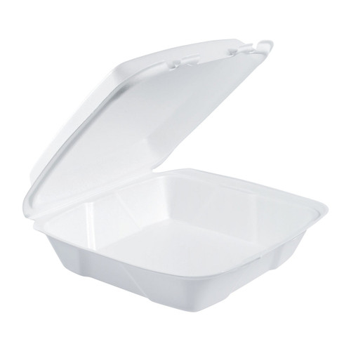"Dart 90HT1R 9"" x 9"" x 3"" Foam Square Take Out Container with Hinged Lid - 200/Case"