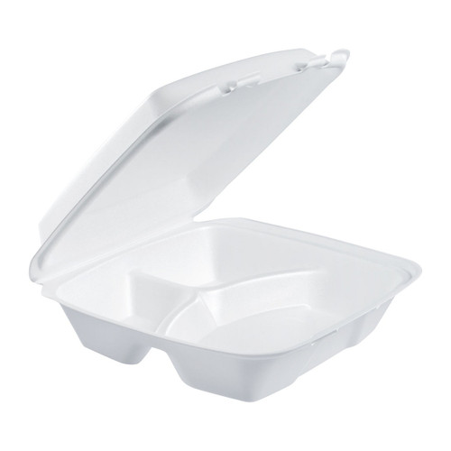 "Dart 90HT3R 9"" x 9"" x 3"" Foam Three-Compartment Square Take Out Container with Hinged Lid - 200/Case"