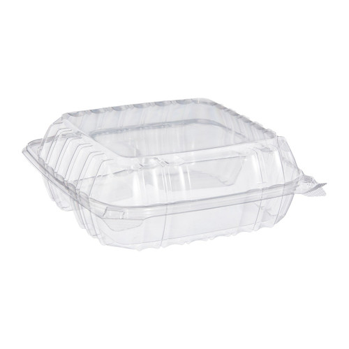 "Dart C90PST3 Clear 8 5/16"" x 8 5/16"" x 3"" Three-Compartment Plastic Hinged Container - 250/Case"
