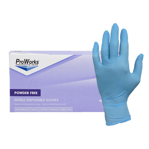 Hospeco GLN103FM Medium Blue Powder Free Nitrile Gloves - 1000/Case