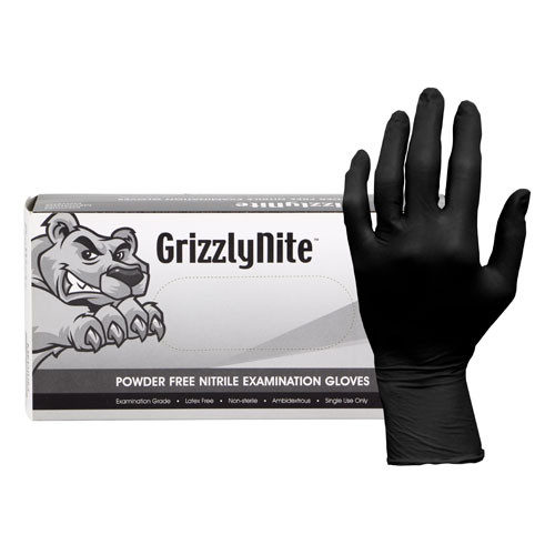 Hospeco GLN105FM Medium Black Powder Free Nitrile Gloves - 1000/Case