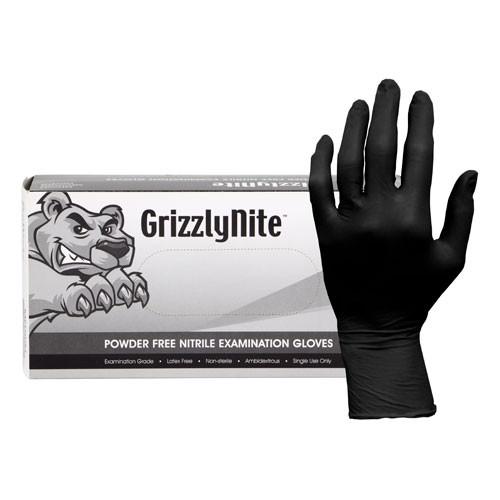 Hospeco GLN105FL Large Black Powder Free Nitrile Gloves - 1000/Case