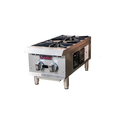 "IKON Series IHP-2-12 12"" Gas Hot Plates, 2 Burners, 50K BTU"