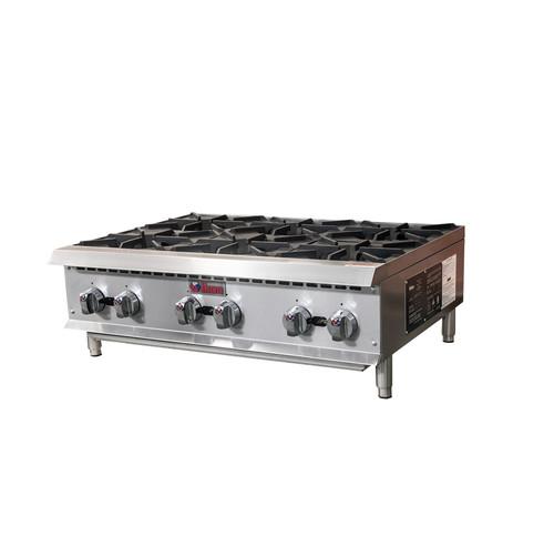 "IKON Series IHP-6-36 36"" Gas Hot Plates, 6 Burners, 150K BTU"