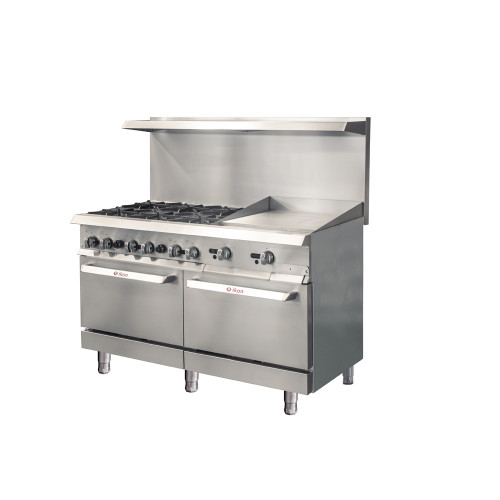 "IKON Series IR-6B-24TG-60 Gas Range 60"" - 6 Burners - 24"" T-Stat Griddle"
