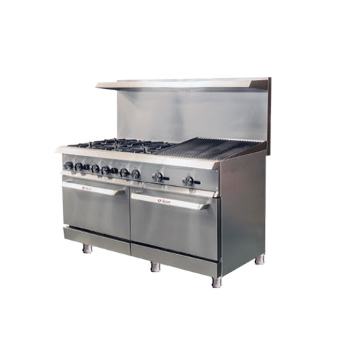 "IKON Series IR-6B-24RB-60 Gas Range 60"" - 6 Burners - 24"" Radiant Broiler"