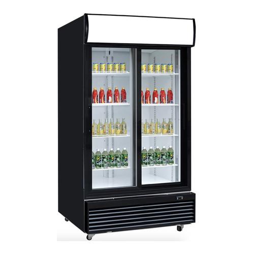 """Dukers DSM-32SR 39-3/8"""" Two Glass Hinged Door Refrigerator, Bottom Mount"""
