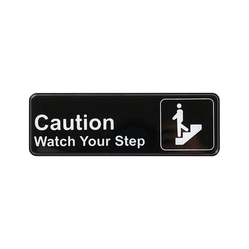 """Winco SGN-326 Caution Watch Your Step Sign - Black and White, 9"""" x 3"""""""