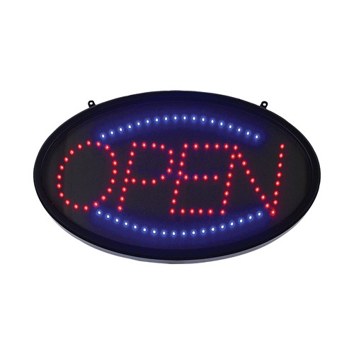 """Winco LED-10 22-3/4"""" x 14"""" LED Oval Open Sign w/Dust Proof Cover"""