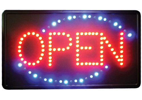 """Winco LED-6 LED Sign, """"Open"""", Acrylic, with Dust Cover"""