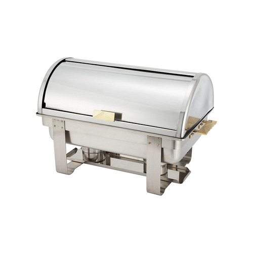 Winco C-5080 8 Quart Chafer, Full Size, Roll Top, Stainless Steel With Gold Accent