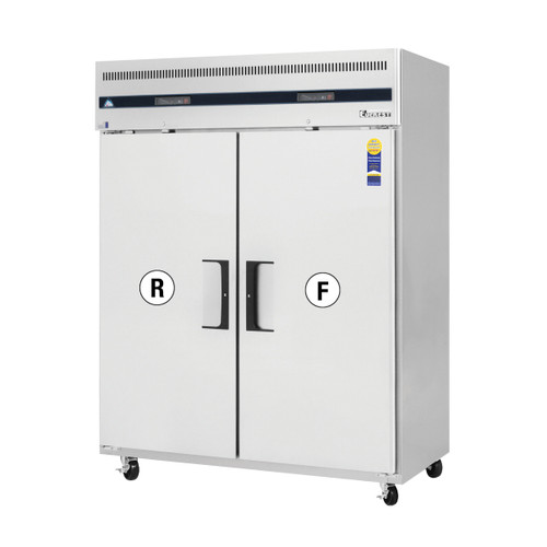 """Everest Refrigeration ESWRF2 59"""" Two Section Solid Door Upright Reach-In Dual Temp Refrigerator/Freezer Combo"""