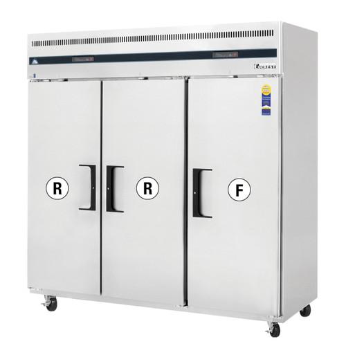 "Everest Refrigeration ESRF3 74.75"" Three Section Solid Door Upright Reach-In Dual Temp Refrigerator/Freezer Combo"