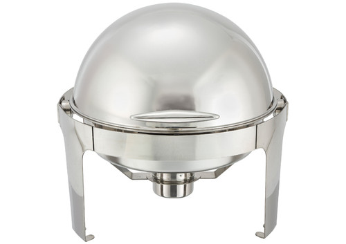 Winco 602 Madison 6 Quart Round Chafer, Roll-Top, Stainless Steel