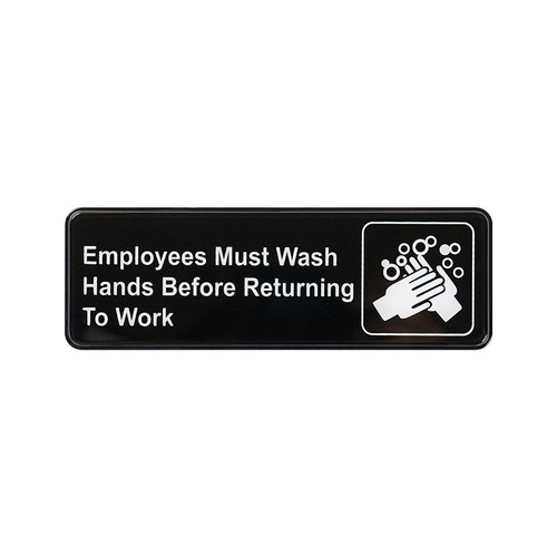 """Winco SGN-322 Employees Must Wash Hands Before Returning to Work Sign - Black and White, 9"""" x 3"""""""