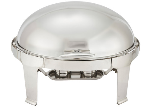 Winco 603 Madison 8 Quart Oval Chafer, Roll-Top, Stainless Steel