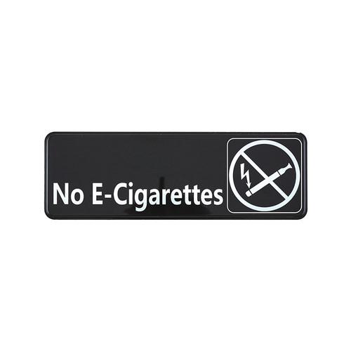 """Winco SGN-335 No E-Cigarettes - Black and White, 9"""" x 3"""""""