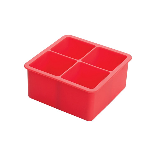 """Winco ICCT-4R Red Silicone 4 Compartment 2"""" Ice Cube Tray"""